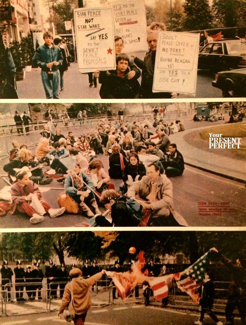 Участники одной из антивоенных демонстраций на улицах Лондона. 1986 г.