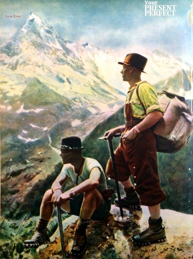 1950 год. Инструкторы альпинизма Александр Хоменко (слева) и Николай Семенов в горах западного Кавказа. Журнал Огонек.