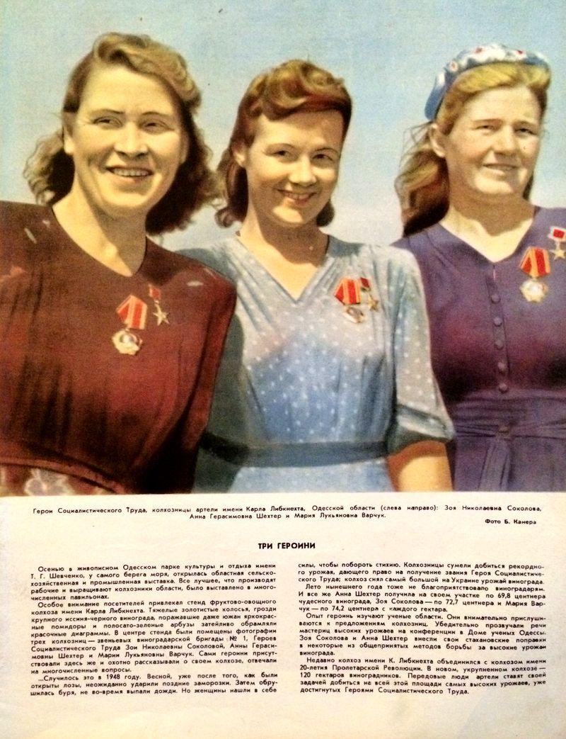 1950 год. Колхозницы артели имени Карла Либкнехта, Одесской области. Журнал Огонек.