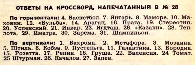 Ответы на кроссворд, напечатанный в №28 журнала Огонек 1970 года