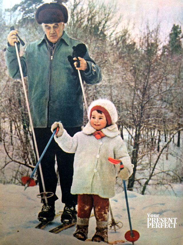 Академик Аксель Берг с дочкой. 1964 год.