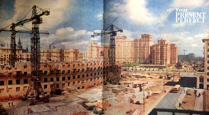 """1956. Общий вид строительства одного из участков. (""""Дом преподавателей"""")."""