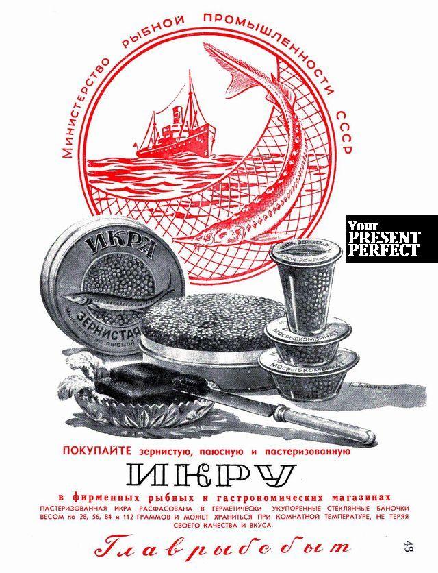 1950. Старая реклама из советских журналов. Покупайте зернистую, паюсную и пастеризованную икру.
