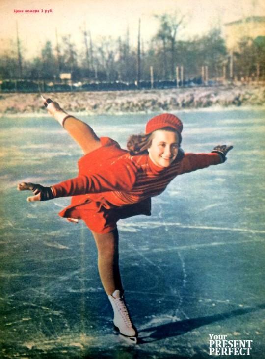 1951. Чемпион Москвы по фигурному катанию на коньках мастер спорта Н. Картавенко.