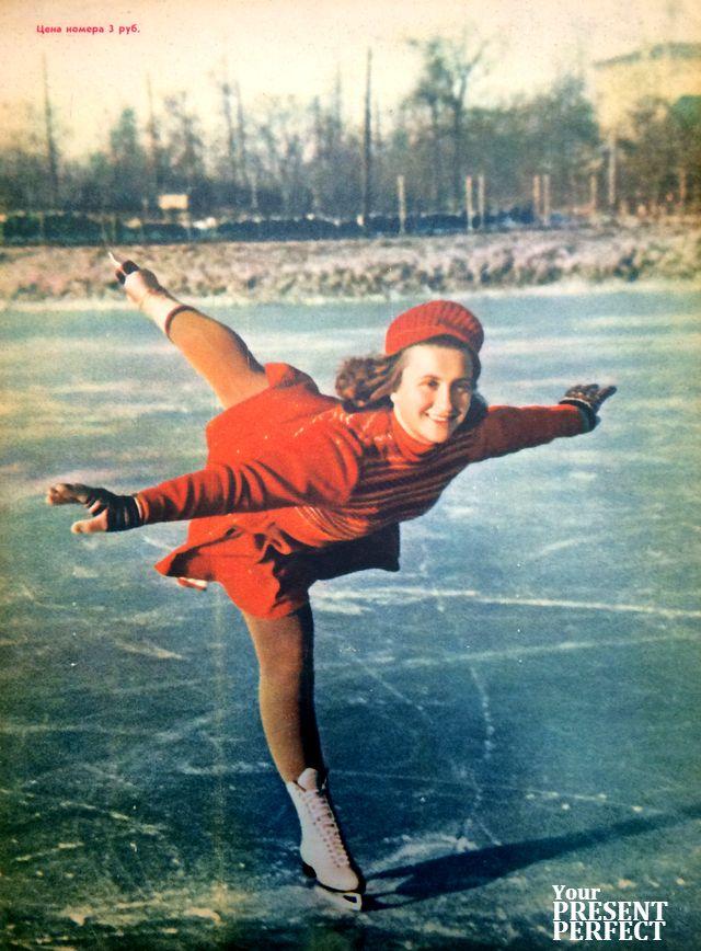 Журнал Огонек 1951 год. Чемпион Москвы по фигурному катанию на коньках мастер спорта Н. Картавенко.